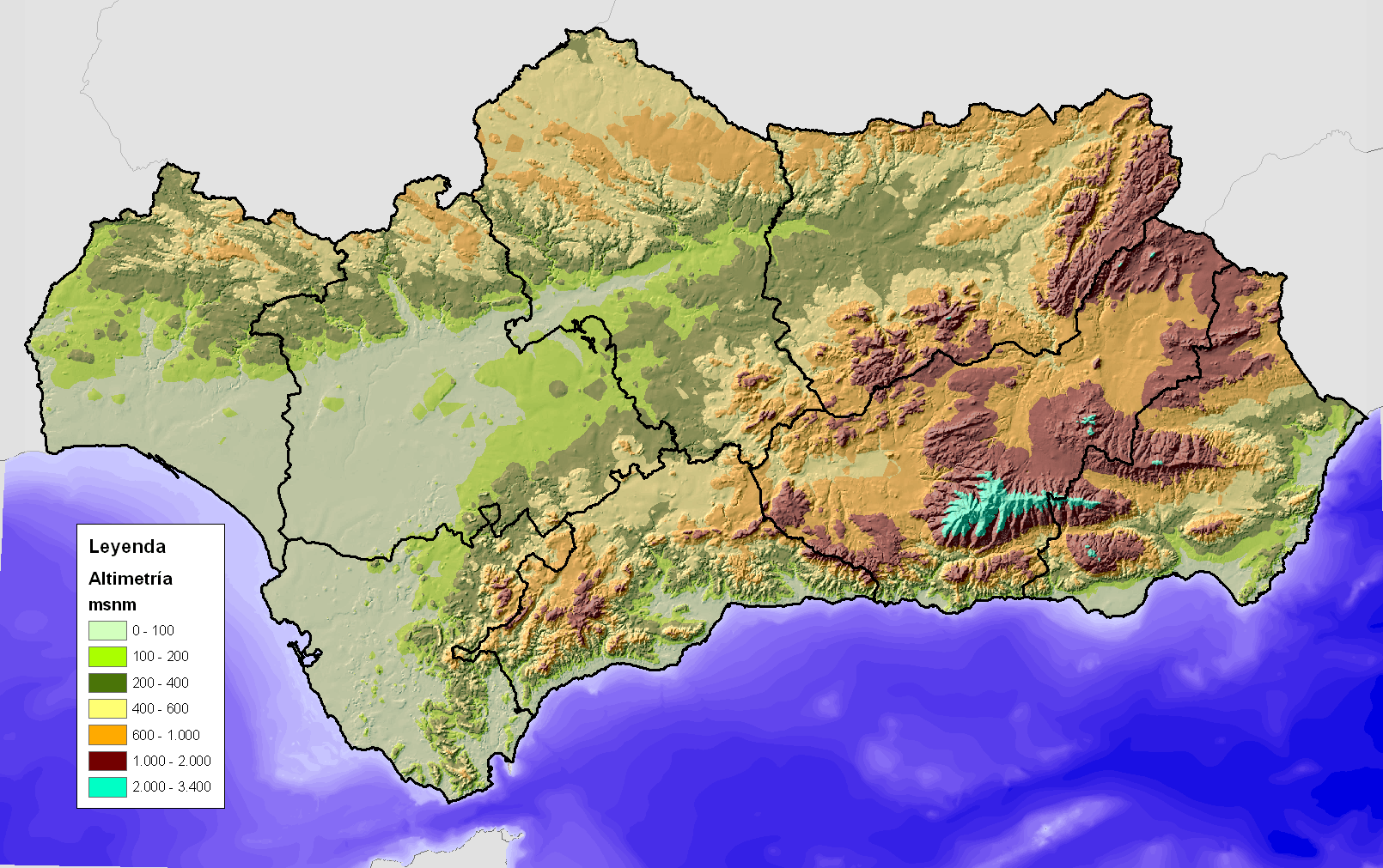 Topographical map of Andalucía
