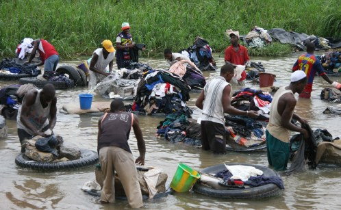 Laundry in the river in Abidjan, Ivory Coast.