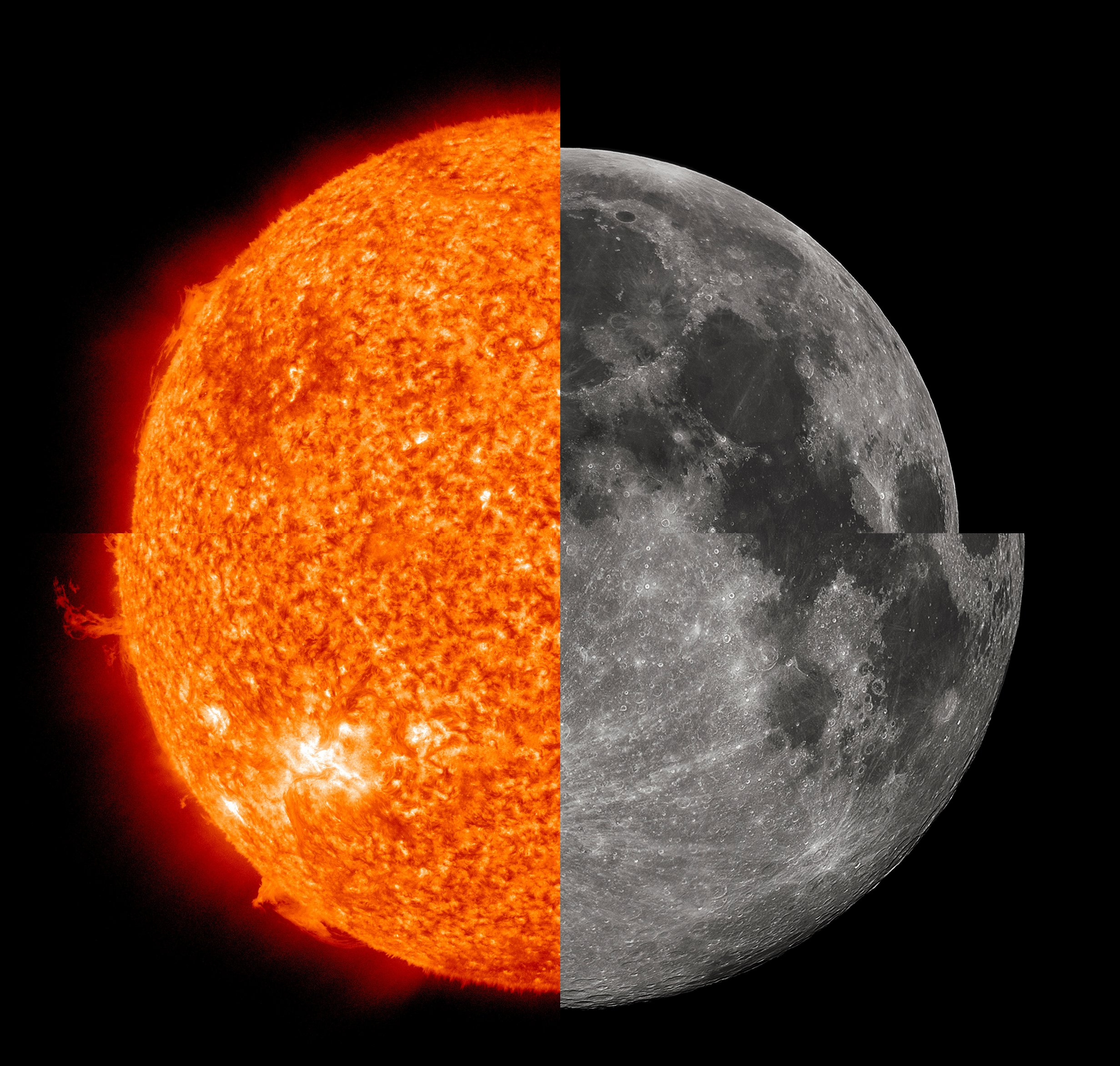 Apparent Sizes Of The Sun And Moon Depicted To Scale At