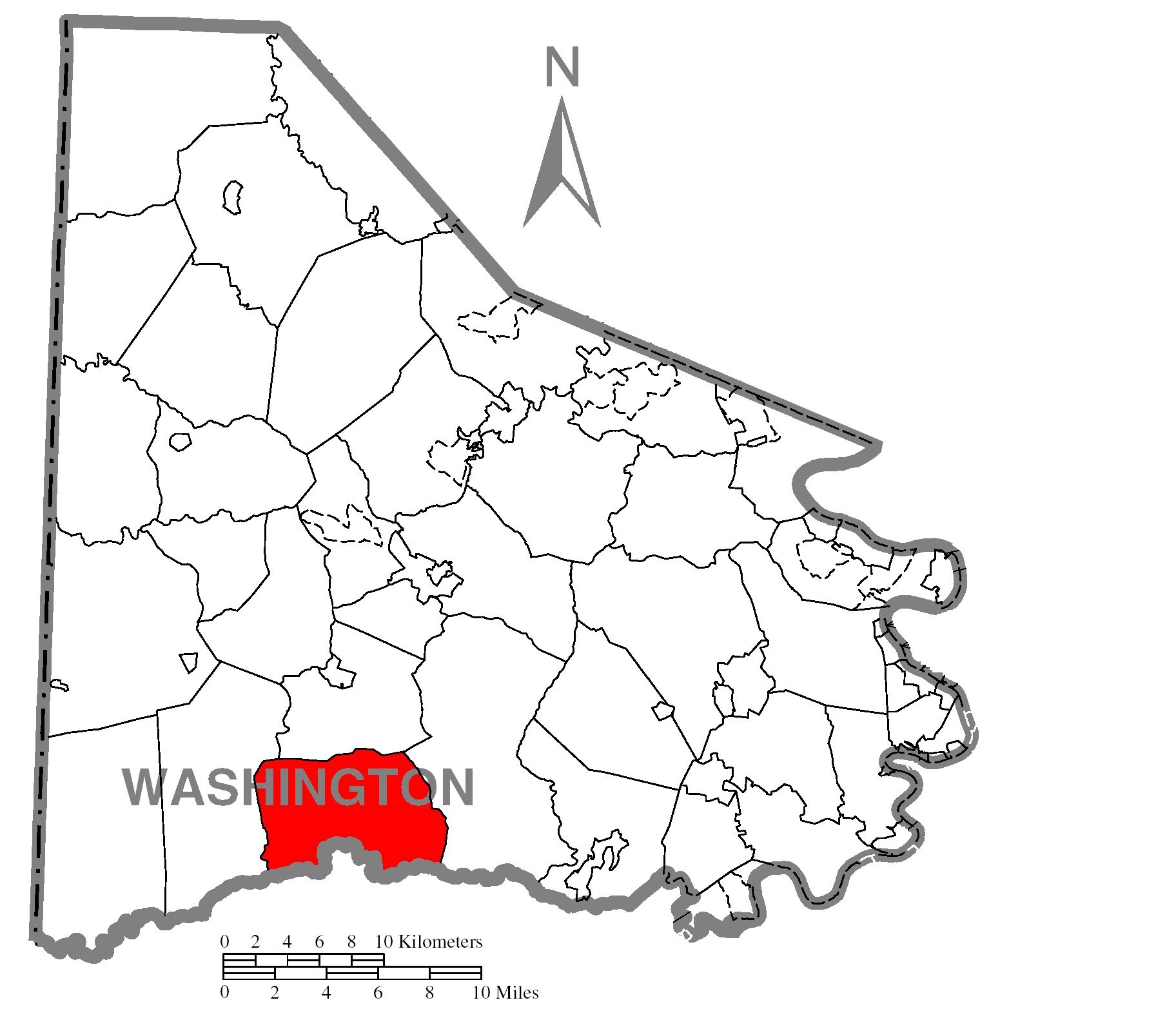 File Map Of Morris Township Washington County Pennsylvania Highlighted