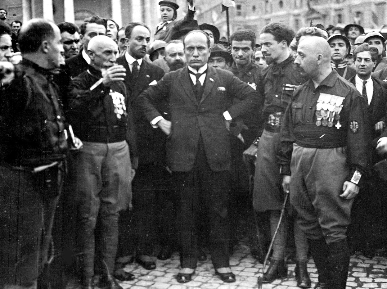 Mussolini and the Quadrumviri during the March on Rome in 1922: from left to right: Michele Bianchi, Emilio De Bono, Italo Balbo and Cesare Maria De Vecchi.