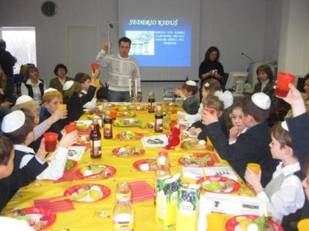 Israel Children's school having Passover meal