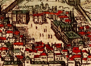 16th-century drawing of Rossio square in Lisbo...