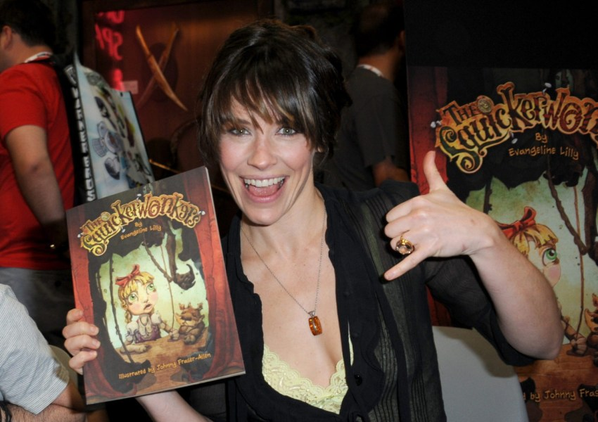 Evangeline Lilly   Wikipedia Lilly holding a copy of her children s book  The Squickerwonkers  at the  2013 San Diego Comic Con