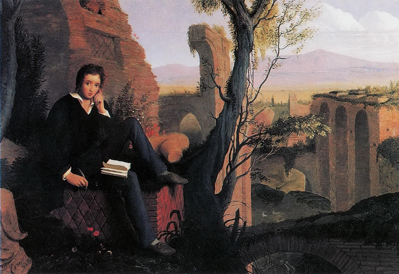 File:Joseph Severn - Posthumous Portrait of Shelley Writing Prometheus Unbound 1845.jpg
