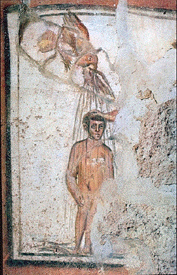 Baptism of Christ, fragment from the Catacombs...