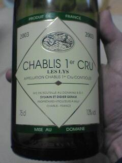 French Chablis wine