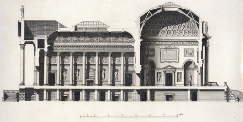 A cross section through the hall and saloon