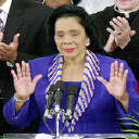 Coretta Scott King acknowledging applause at a...