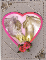 Greeting card with horses on