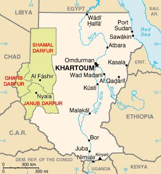 Район конфликта на западе Судана