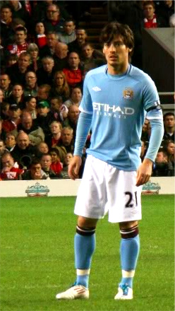 English: David Silva playing for Manchester City