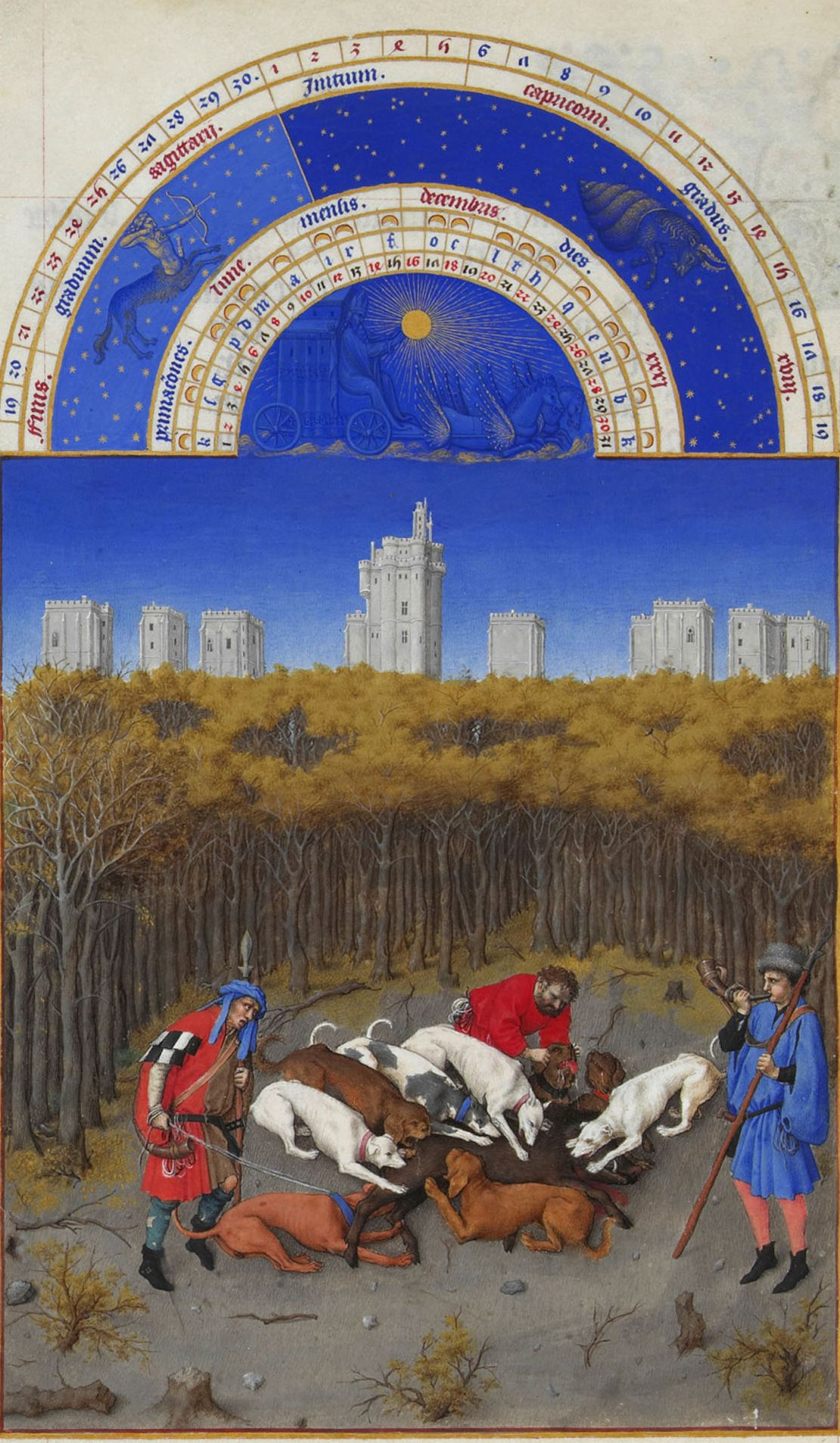 "Limbourg Brothers, ""The Book of Hours."" Hunting."