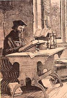 English: John Wycliffe in his study