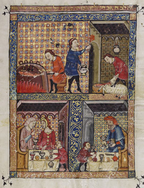 File:Rylands Haggadah, The Preparation for the Seder (above) and The Celebration of the Seder (below).jpg