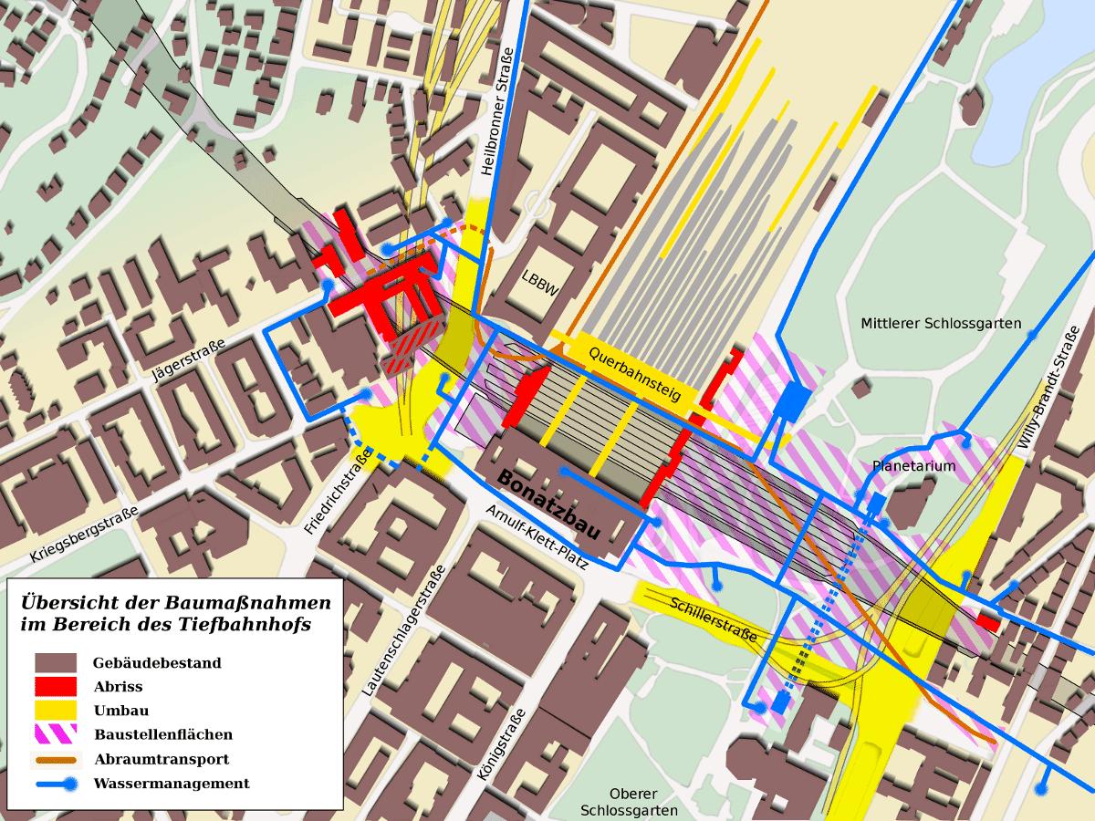 Projekt Stuttgart 21 - Grafik zur Illustration der zum Umbau und der Tieferlegung des Stuttgarter Hauptbahnhofs notwendigen Bautaetigkeiten in der Innenstadt