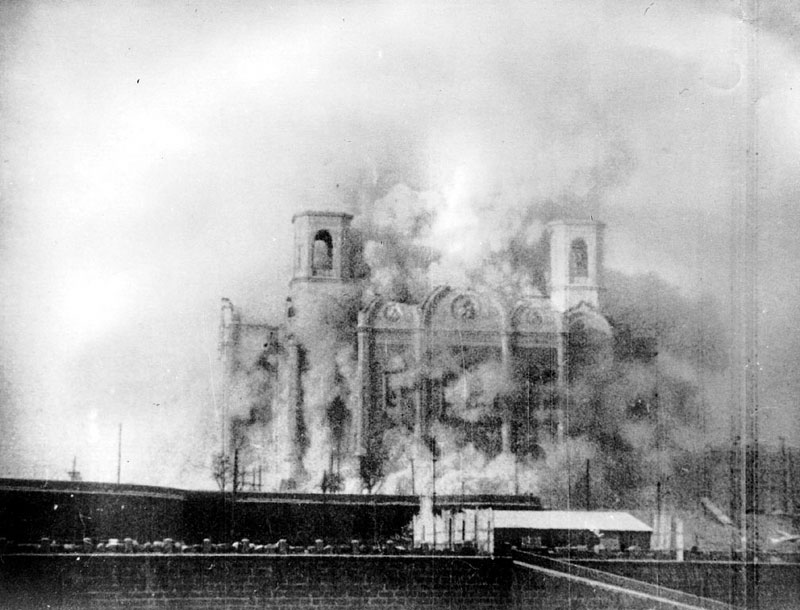 The destruction of the Temple of Christ the Savior (1931).