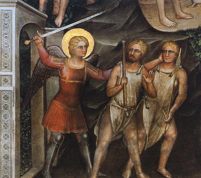 Cherub guarding the entrance of the Garden of Eden by Giusto de Menabuoi ca. 1377.