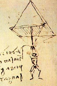 рисунок Леонардо да Винчи - Парашют