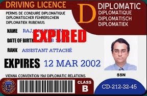 English: Scan of an EXPIRED diplomatic drivers...