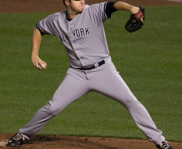 Jared Hughes, aquí en uniforme visitante de los Yankees de Nueva York.
