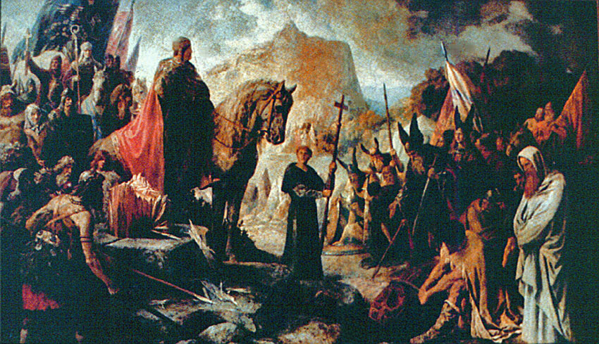 An 1880 mural of the Irminsul's destruction by Hermann Wislicenus