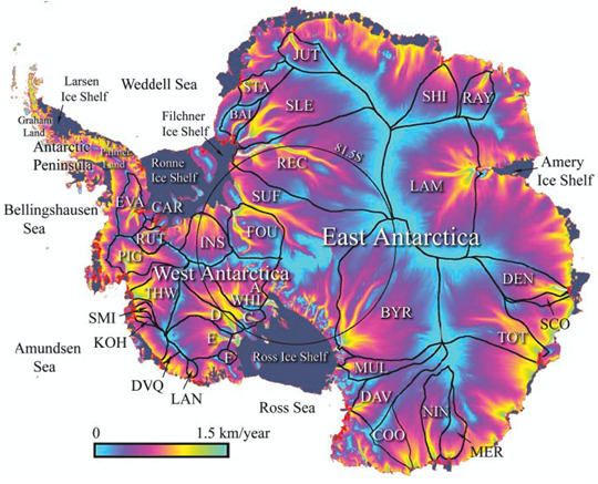 Rate of glacier motion on Antarctica