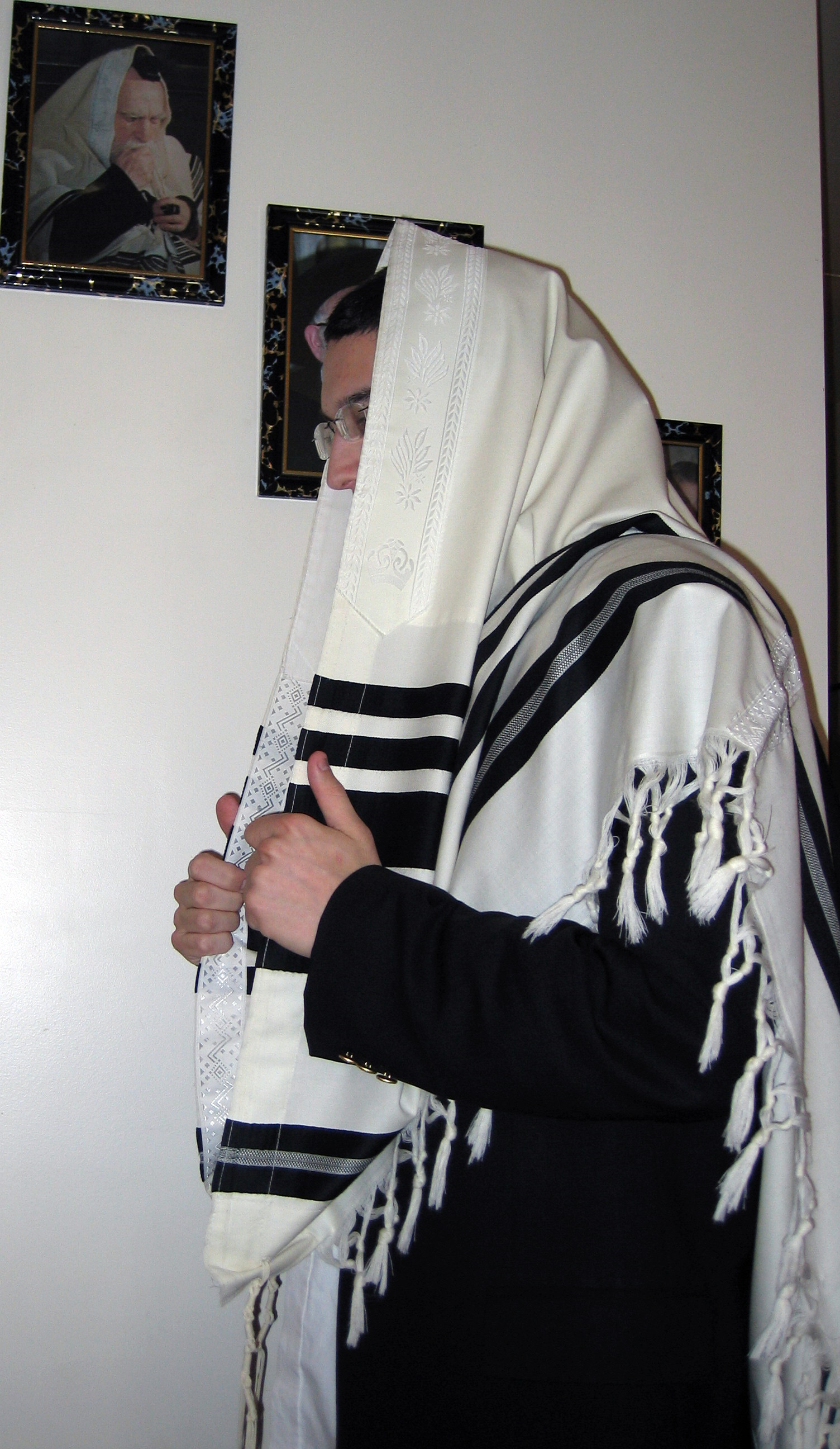 A Tallit as worn during prayer