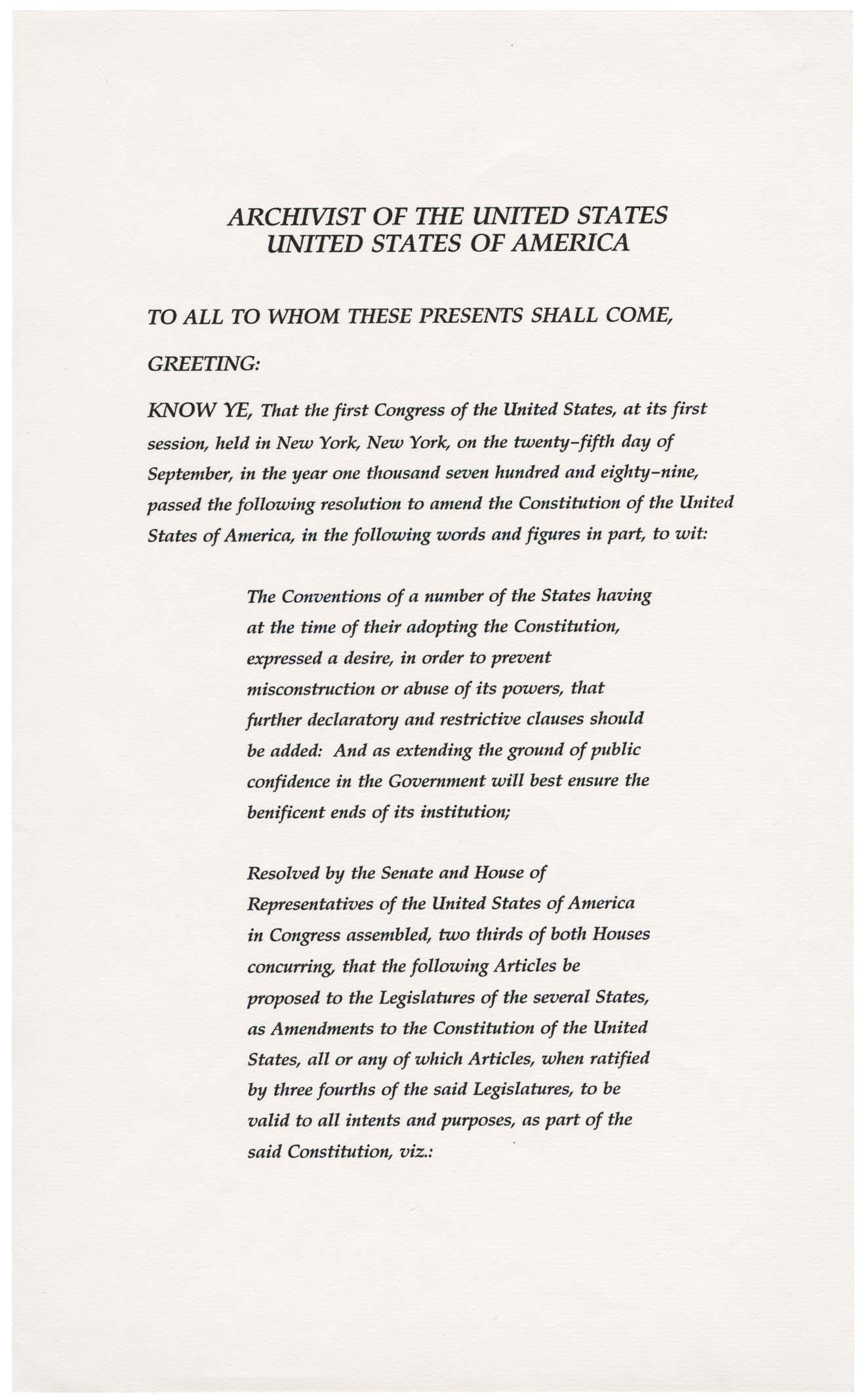 Twenty Seventh Amendment To The United States Constitution