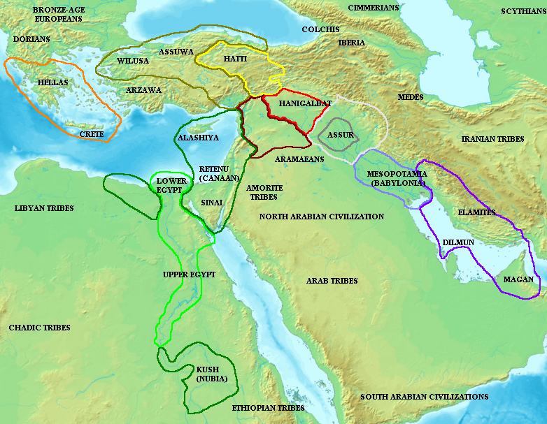 Map of the Ancient Near East during the Amarna...