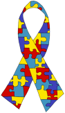 Autism awareness puzzle piece ribbon image