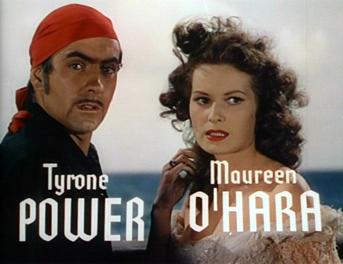 Tyrone Power and Maureen O'Hara in a screenshot from the trailer for the film The Black Swan.