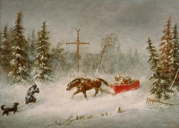 'The Blizzard', oil on canvas painting by Cornelius Krieghoff, 1857, National Gallery of Canada