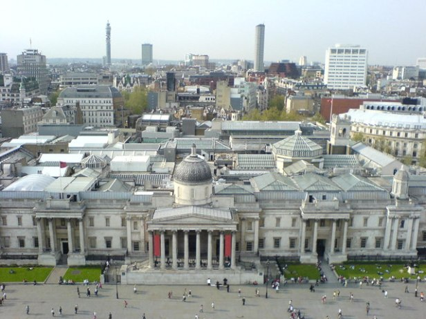 National Gallery from atop Nelson's Column, Trafalgar Square, London