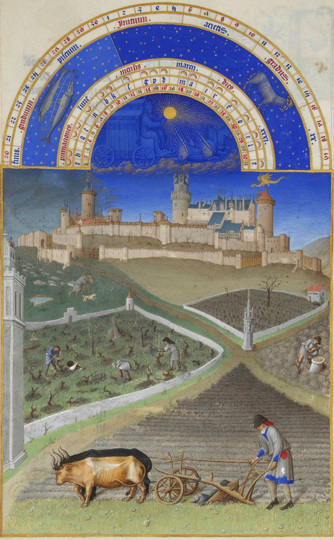 "Limbourg Brothers, ""The Book of Hours."" Plowing, sowing, processing vineyard."