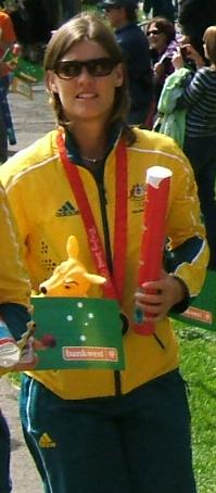 Natalie Ward at the 2008 Olympic welcome home parade in Adelaide