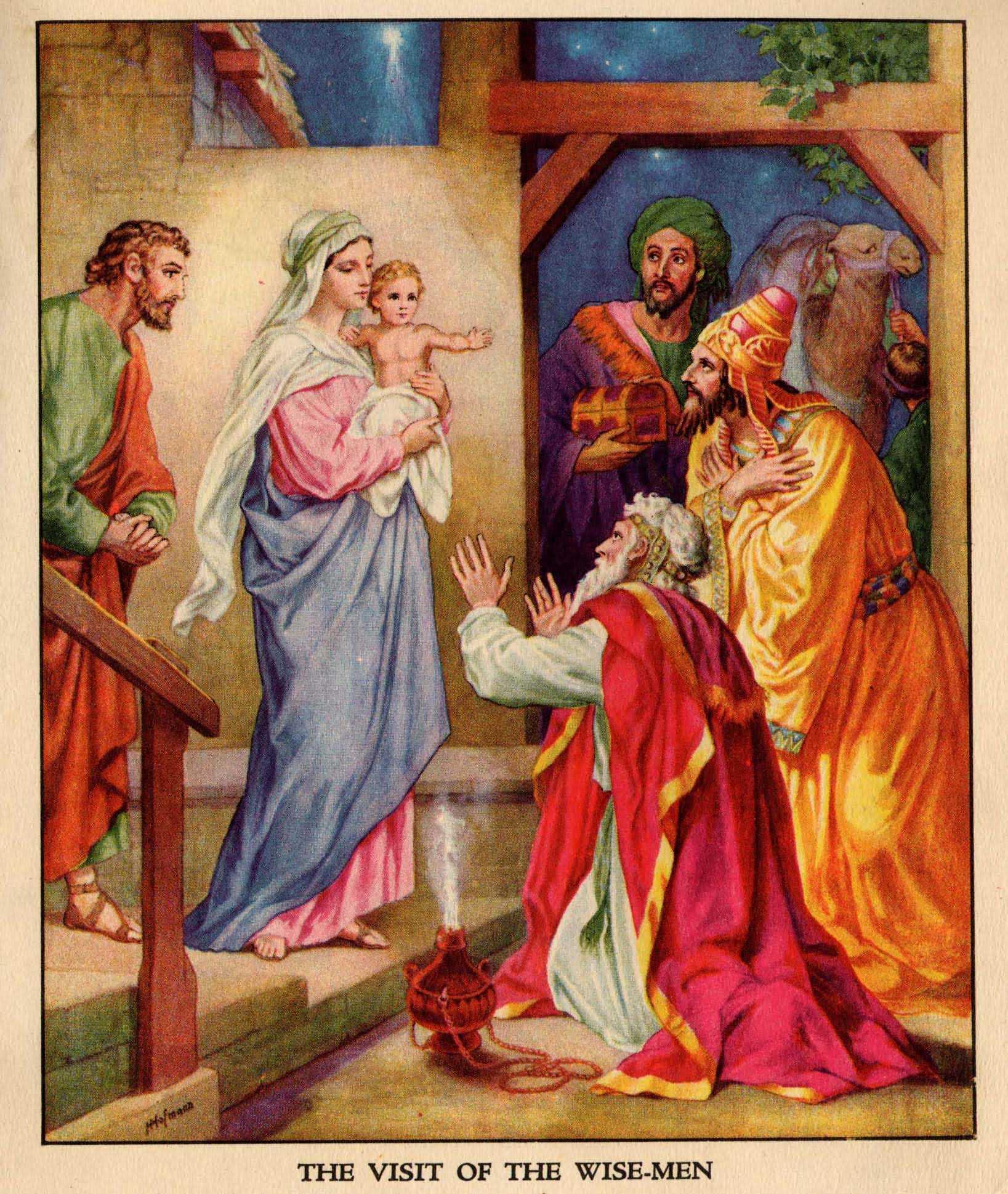 die Weisen beten Jesus an, von H.Hofmann, public Domain