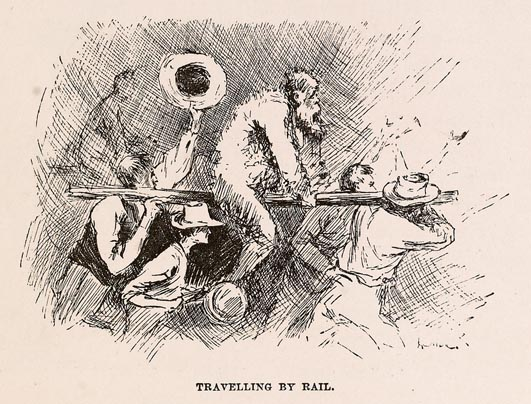 """Illustration from The Adventures of Huckleberry Finn, 1884 edition - the King, """"Travelling by Rail"""" - Wikimedia"""