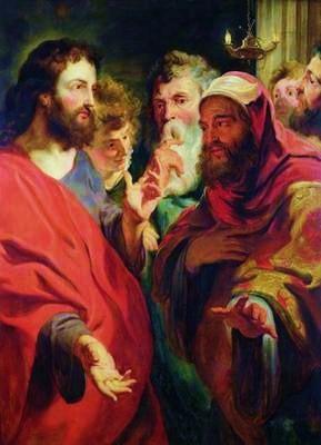 English: Jesus, on the left, instructing Nicod...