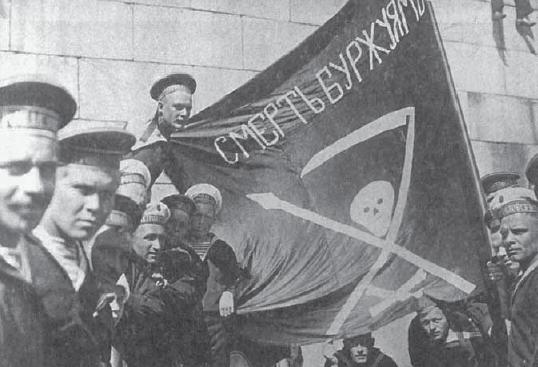 "Revolutionary Kronstadt sailors with the flag of ""Death to the bourgeoisie."""