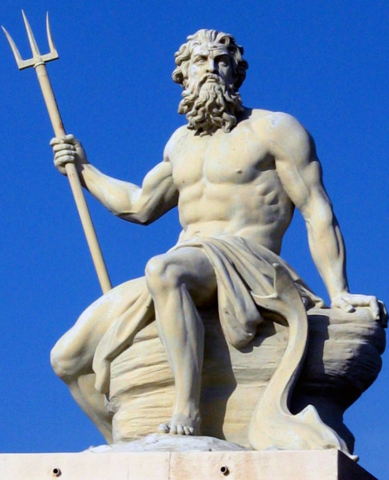 Image of a statue of Poseidon, seated and holding a trident.