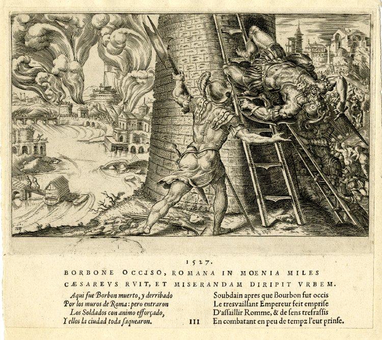 Le sac de Rome, gravure de Martin van Heemskerck (1527).