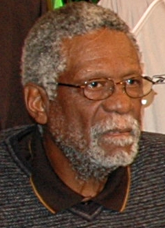 English: Bill Russell posing with other NBA Le...