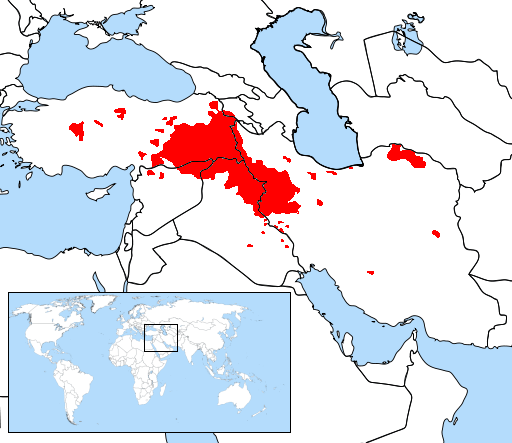 Kurdish Areas in Red