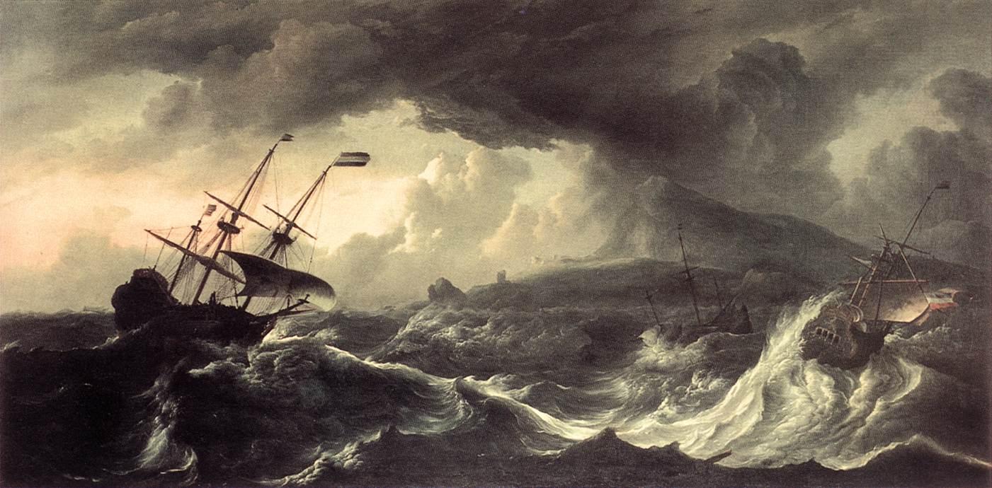 Navios jogados à costa em uma tempestade