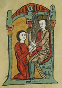 A homage ceremony illustrated in the Catalan Liber Feudorum Maior
