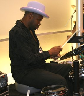 John Blackwell jamming at the Alesis booth dur...