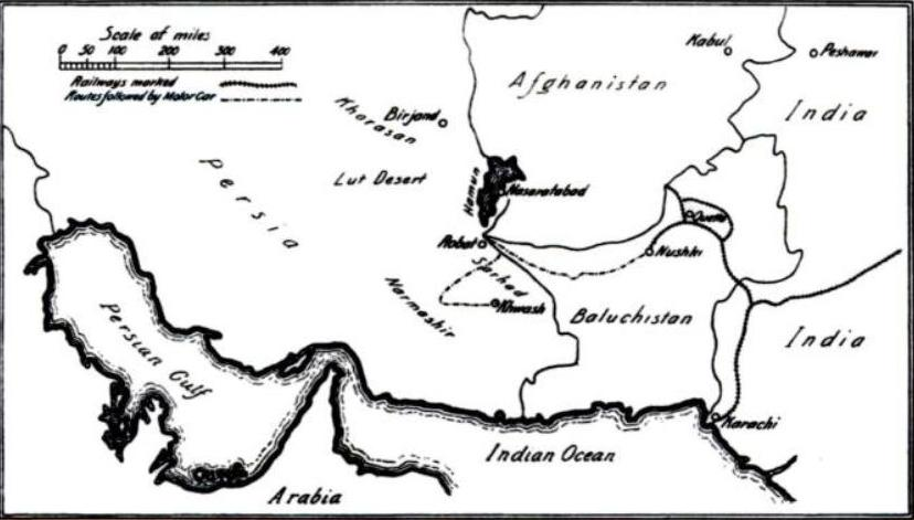 English: Map showing parts of Persia and Afgha...