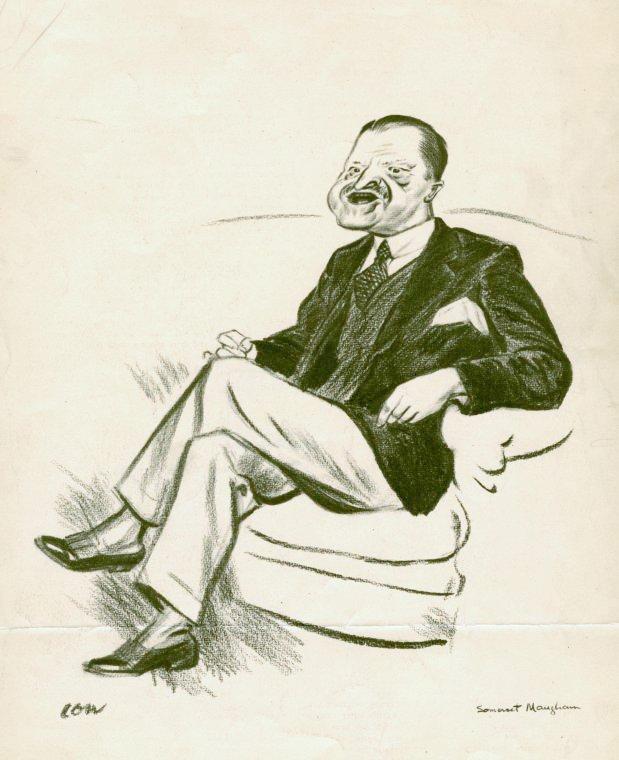English: Caricature of British novelist W. Som...