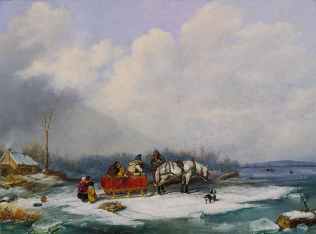 'Winter Landscape', oil on canvas painting by Cornelius Krieghoff, 1849, National Gallery of Canada